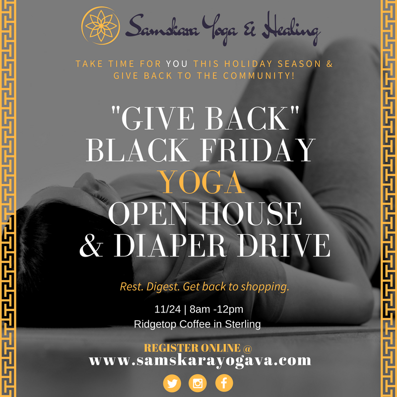 """Give Back"" Black Friday FREE Yoga in Sterling VA 