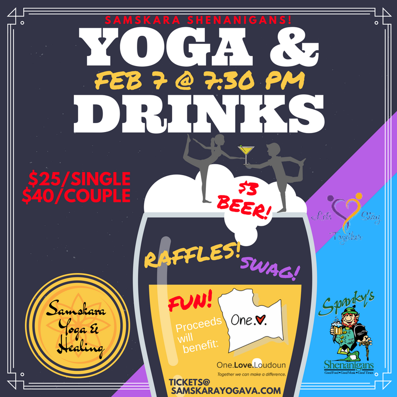 Yoga and Drinks at Spanky's Shenanigans in Leesburg!