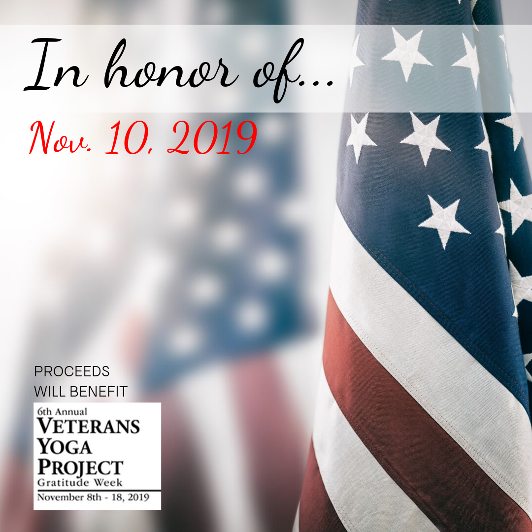 Veterans Yoga Project gratitude week donation classes