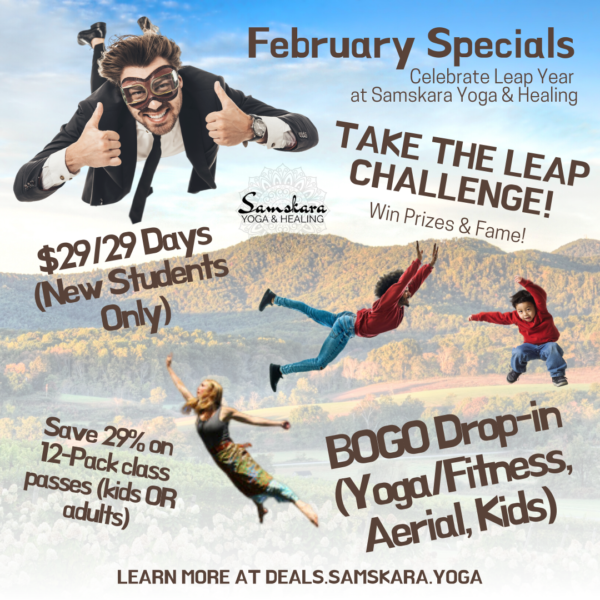 February Yoga, Barre, Fitness, Aerial Deals at Samskara Yoga & Healing